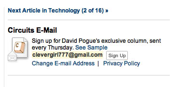 NY Times email box